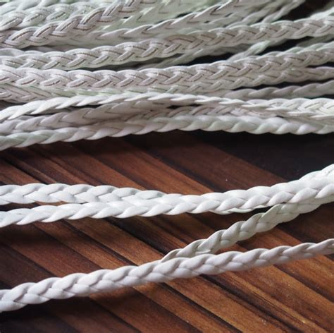 Braid Craft - white braided leather jewelry supplies 5mm white