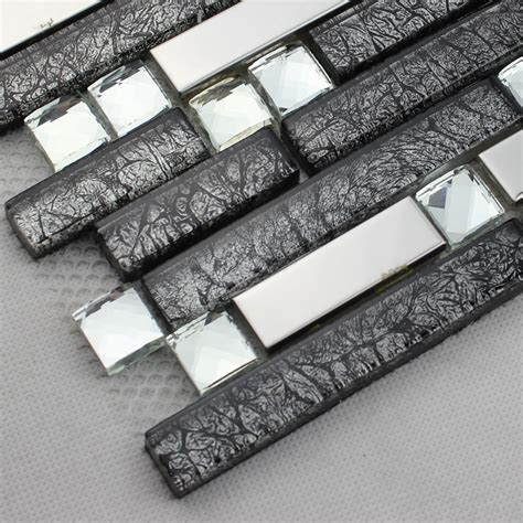 Kitchen Backsplash Ceramic Tile Black Glass Interlocking Mosaic Tile Silver 304 Stainless