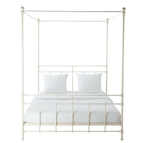 metal poster bed metal 160 x 200cm king size four poster bed in white