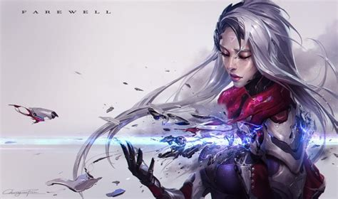league  legends katarina shattered bodysuit white hair wallpapers