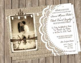 burlap and lace wedding invitations chandeliers pendant lights