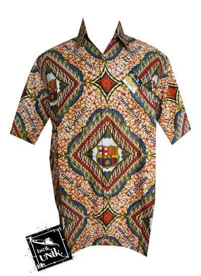 baju kemeja batik bola motif barcelona promo kemeja lengan pendek murah batikunik