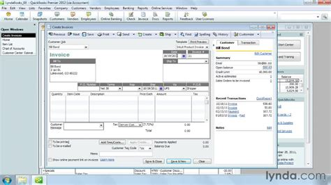 tutorial quickbooks 2012 creating an invoice and filling in header fields