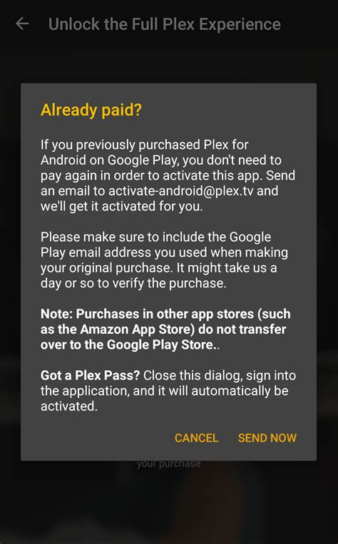 plex android unlocking or activating plex for android plex support