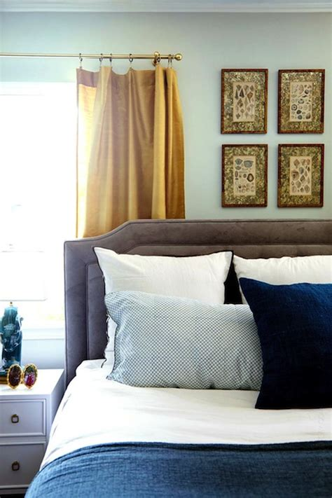 emily henderson curtains gold curtains eclectic bedroom benjamin moore gray