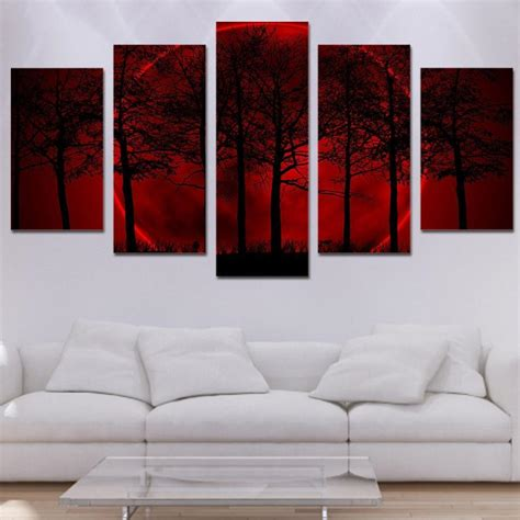 red moon forest  piece hd multi panel canvas wall art