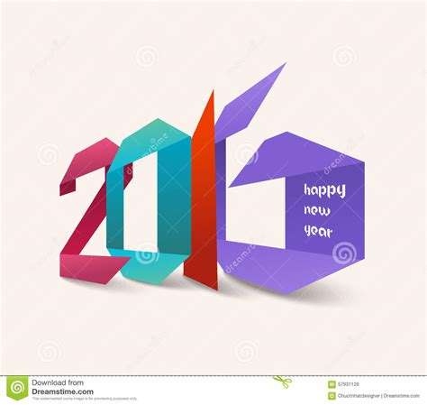 New Year Origami - happy new year 2016 origami colorful stock illustration