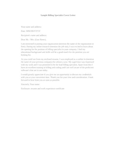 Billing Specialist Cover Letter by Basic Billing Specialist Cover Letter Sles And Templates