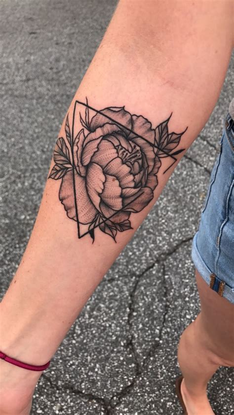 peonies tattoo open triangle with peony the artist s