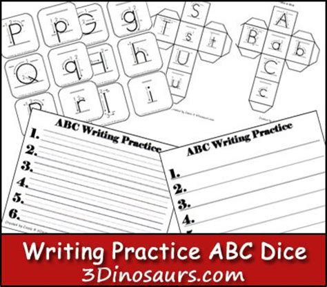 free printable alphabet dice writing practice abc dice 3dinosuars com kindergarten