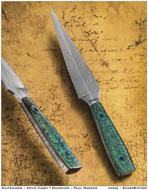 by artist r m custom knives kevin casey feather damascus folder
