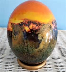 Decoupage Ostrich Eggs - decorated ostrich egg decoupaged and painted by