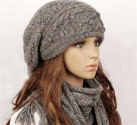knitting pattern scarf and hat set wool slouchy woman handmade knitting hat and scarf set