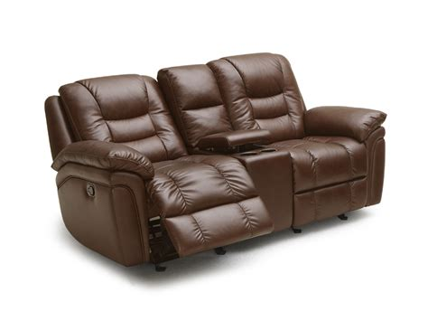 Brown Leather Recliner Craney Brown Leather Power Glider Recliner Loveseat