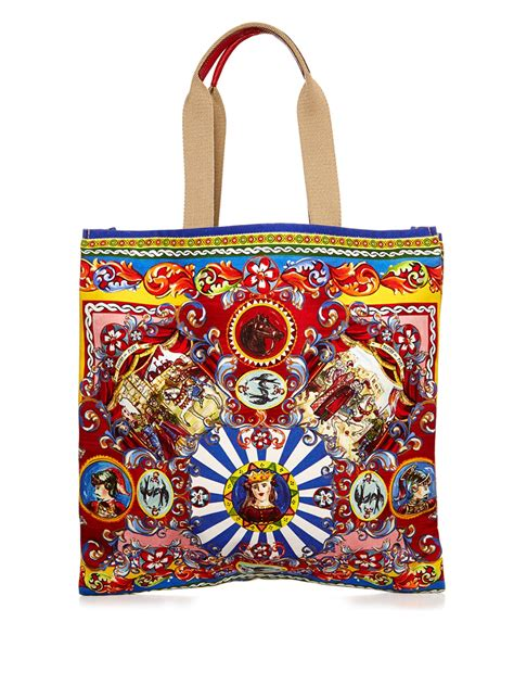 Dg Dolce And Gabbana Ocelot Print Tote by Lyst Dolce Gabbana Carretto Print Canvas Tote In