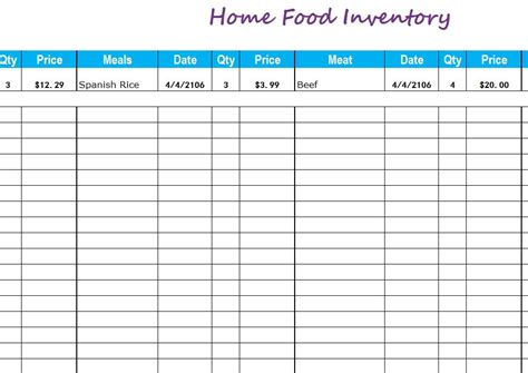 food inventory list template home food inventory my excel templates