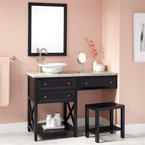Bathroom Makeup Vanity 48 Quot Glympton Vessel Sink Vanity With Makeup Area Black Console Vanities Bathroom Vanities