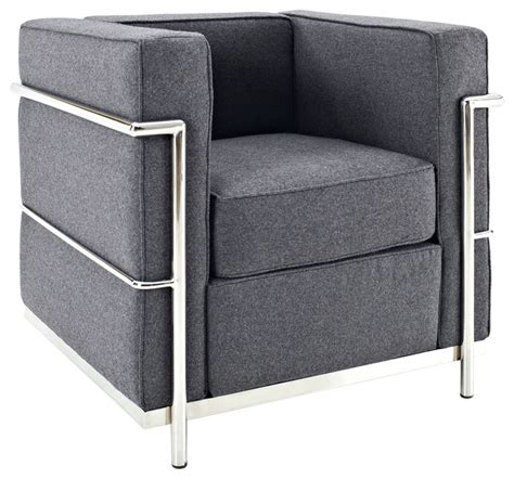 Le Corbusier Lc2 Armchair by Charles Wool Armchair In Gray Modern