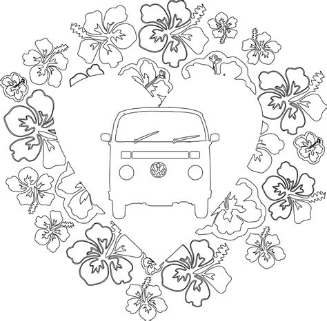 printable images of van vw cer van free colouring pages