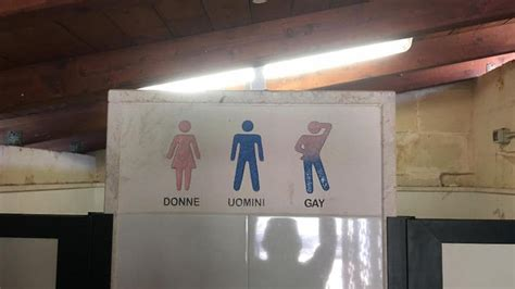 gay public bathrooms this bathroom sign in italy separates men women and gay
