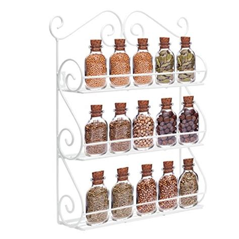 White Wall Mounted Spice Rack Decorative Wall Mounted 3 Tier Wall Hanging Kitchen Spice