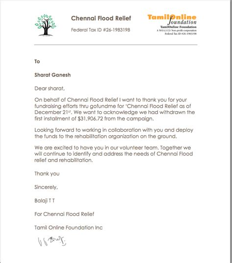 Thank You Letter For Flood Donation Fundraiser By Sharat Ganesh Help Tamil Nadu Flood Recovery