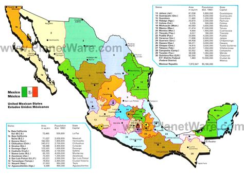map of mexico states and cities map of mexico mexican states planetware