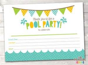 pool printable invitation fill in blank invite blue
