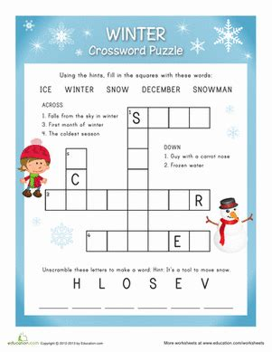 12 best winter puzzles images winter crossword easy winter words worksheets and seasons worksheets
