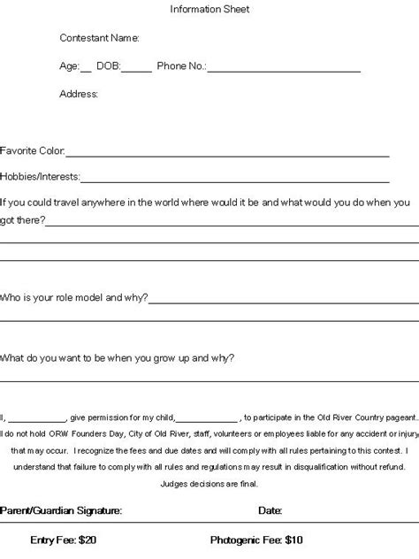 3rd Annual Old River Country Natural Beauty Pageant Old River Winfree Community News Pageant Registration Form Template