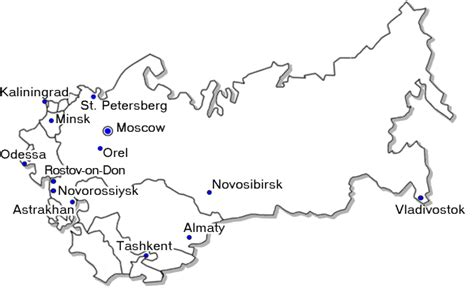russia map with major cities map of major russian cities