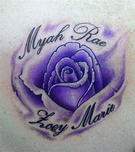 violet and rose tattoo blue and purple lavender
