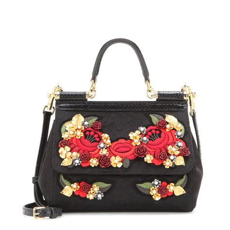 Dolce And Gabbana Miss Pocket Tote by Dolce Gabbana Miss Sicily Mini Jacquard Embellished Tote