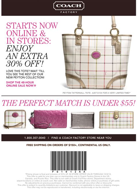 printable coupons for coach outlet coach factory store 30 off printable coupon