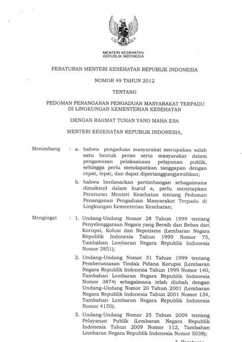 Standar Diagnosis Keperawatan Indonesia Ed 1 permenkes nomor 49 tahun 2013 tentang pedoman penanganan