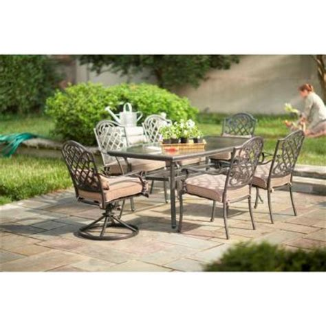 Martha Stewart Patio Dining Set Martha Stewart Living Augusta 7 Patio Dining Set With Taupe Cushions 2 11 801 Dset The