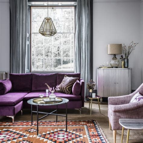 gray and purple living room room reveal purple and grey living room sophie robinson