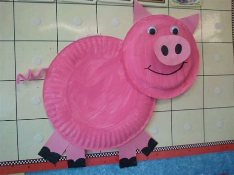 Pig Paper Plate Craft - pig crafts for preschoolers food