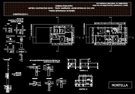 quincha construction details dwg detail  autocad