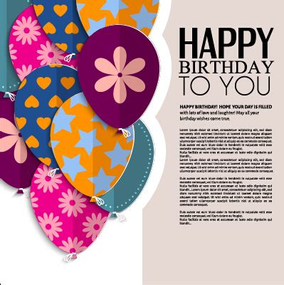 birthday card template free vector template birthday greeting card vector material 03