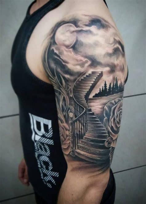 staircase tattoo stairway to heaven scenery by chris tziortzis