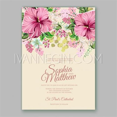 Hibiscus Card Template by Hibiscus Wedding Invitation Card Template Unique Vector