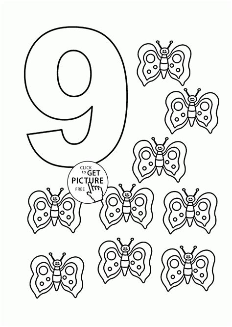 Number 9 Coloring Pages For Kids Counting Sheets Coloring Pages For 9 And Up