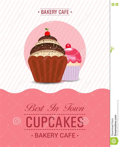 cupcake template banner or flyer design stock photo