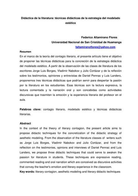 (PDF) Didáctica de la literatura: técnicas didácticas de