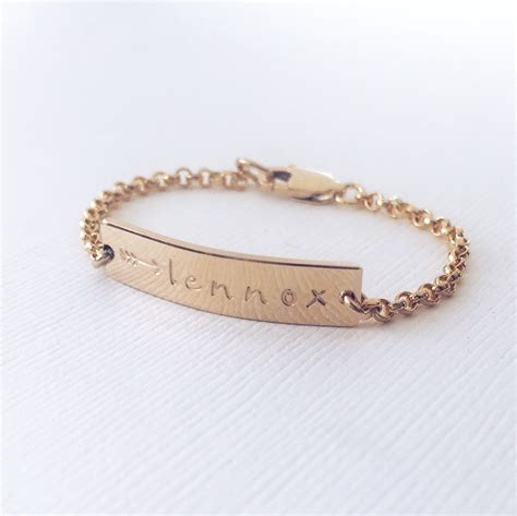 personalized baby bracelet gold gold or silver bar