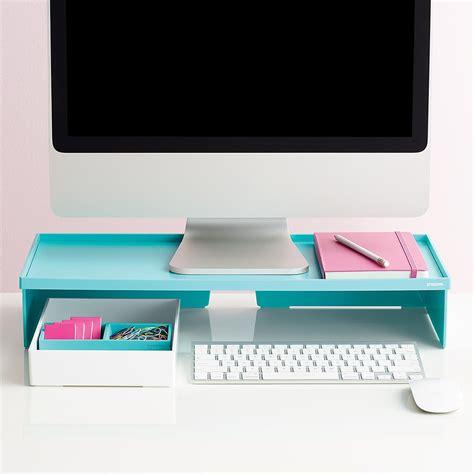 Blue Desk Accessories Aqua Poppin Monitor Stand The Container Store