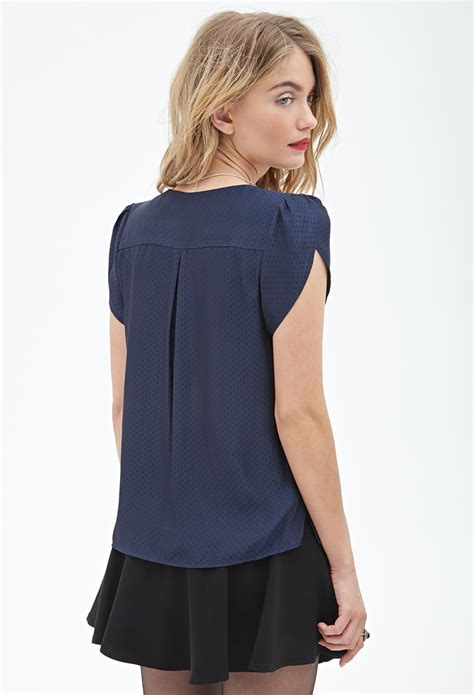 Blouse Tulip 21 contemporary dotted tulip sleeve blouse in blue navy lyst