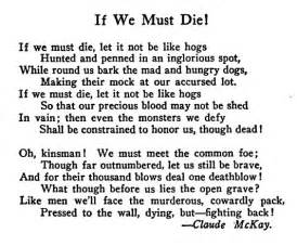 Even Tho Poem Essay by Claude Mckay If We Must Die Search Quotes We And Search