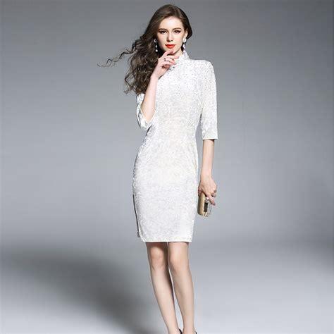 Cheongsam Dress White excellent beaded dress cheongsam qipao white